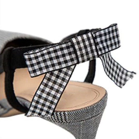 Women's Summer Plaid Heeled Elegant Pumps With Butterfly-Knot