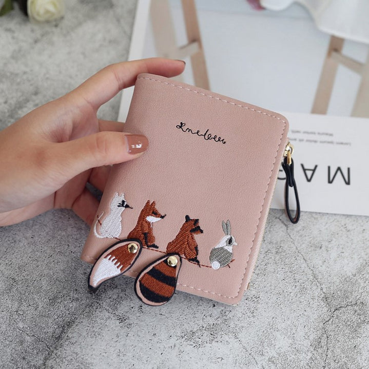Women's PU Leather Wallet With Cartoon Animals Embroidery