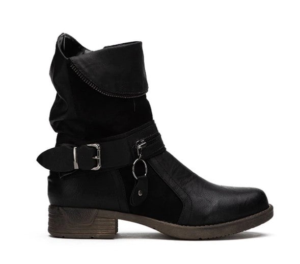 Women's Winter PU Leather Western Boots With Velvet Lining
