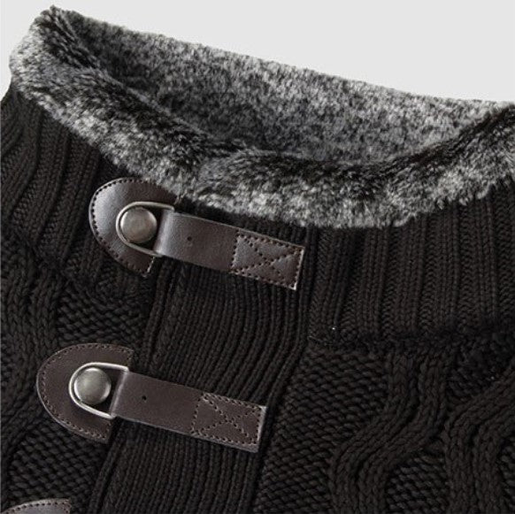 Men's Autumn/Winter Vintage Warm Knitted Lapel Collar Sweater
