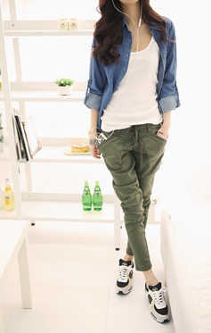 Female Casual Solid Color Pants - Zorket