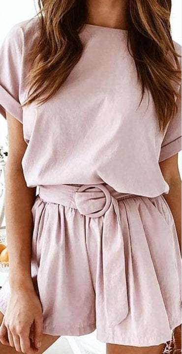 Women's Summer Short-Sleeved Two-Piece Loose Romper