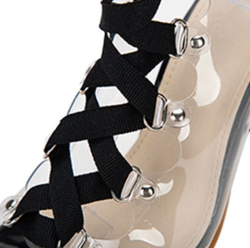 Women's Summer Square-Heeled PVC Transparent Cross-Tied Sandals