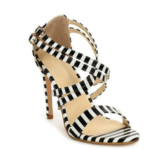 Women's Summer Striped Sandals on Thin High Heels