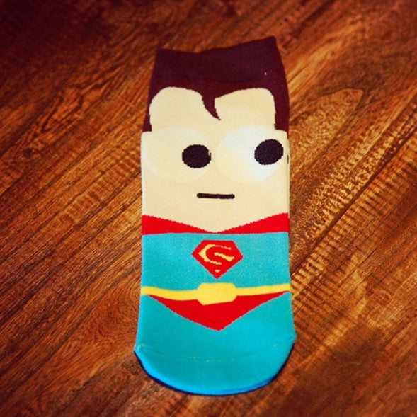 Men's Summer Breathable Short Socks With SuperHero Printing