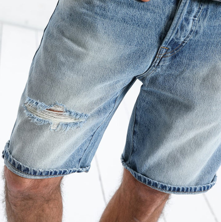 Men's Summer Cotton Ripped Slim Fit Denim Shorts