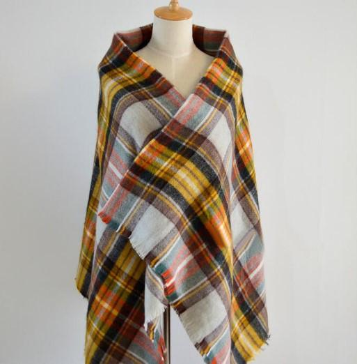 Winter Plaid Acrylic Warm Scarf