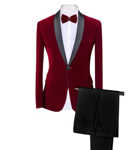 Men's Autumn/Winter Classic Velvet Suit With Bow Tie | Men's Slim Fit Tuxedo