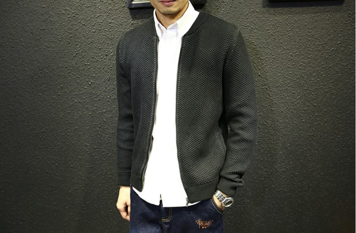 Men's Autumn/Winter Warm Knitted Zipped Slim Cardigan