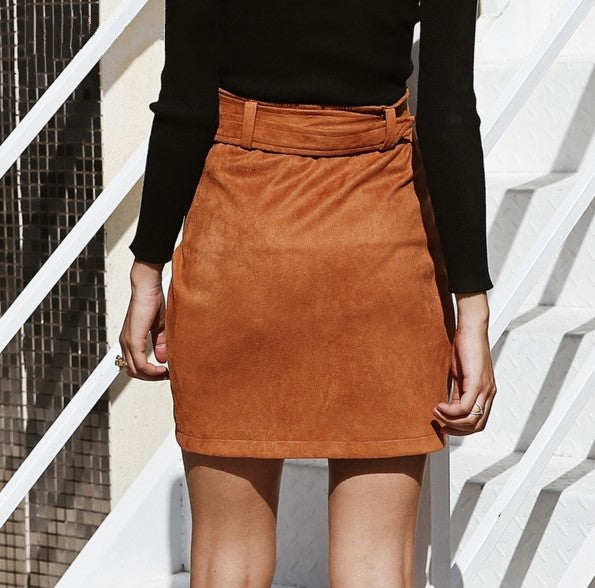 Women's Autumn/Winter Asymmetric High Waist Suede Leather Skirt With Belt