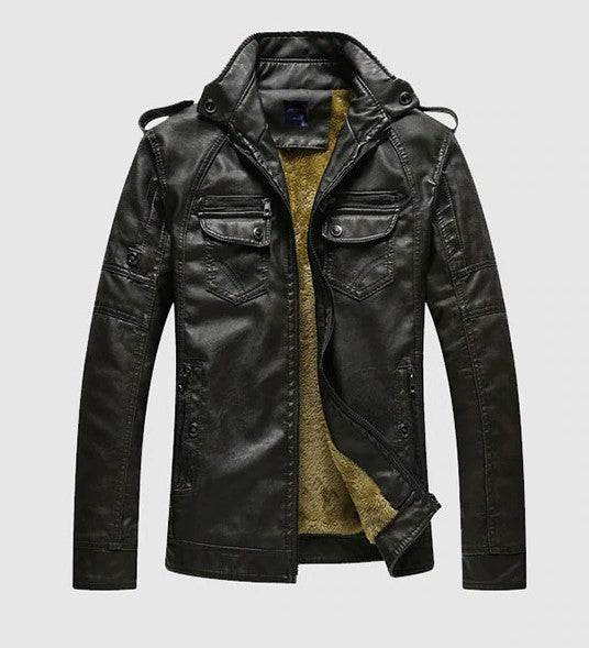Men's Winter Warm PU Leather Jacket With Fur Lining