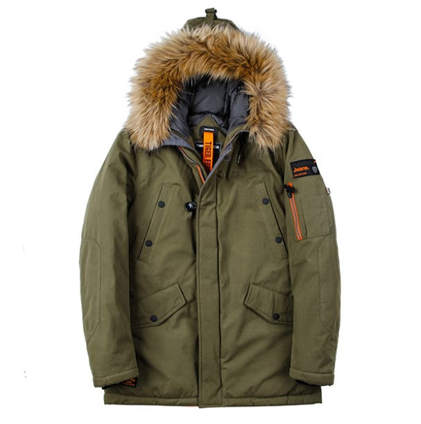 Men's Winter Thick Cotton-Padded Parka With Artificial Fur On Hood