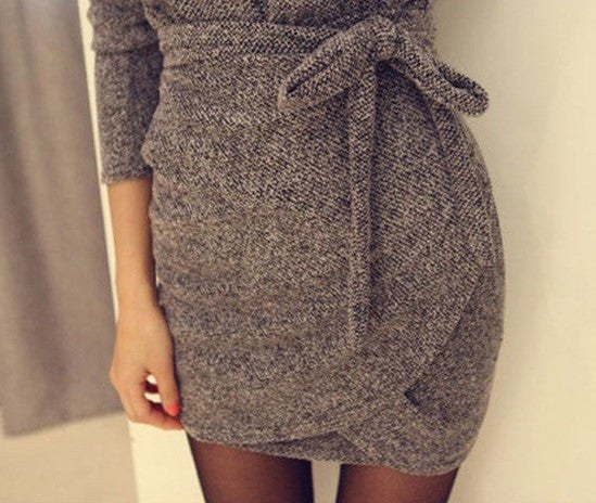 Dress – Spring Long Sleeved Dress With Size Belt | Zorket