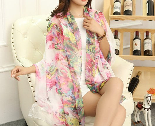 Summer Soft Silk Women's Long Shawl Scarf - Zorket