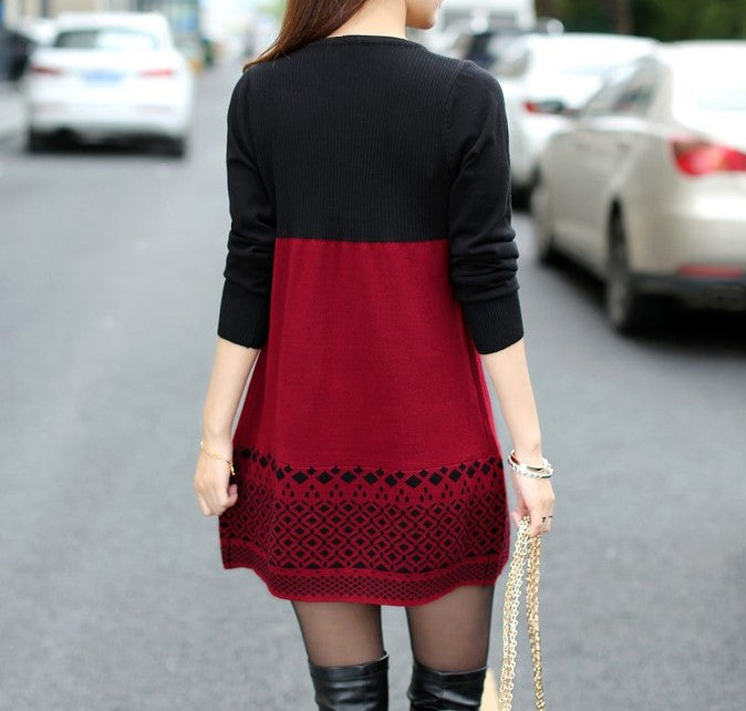 Warm Casual Slim Patchwork O-Neck Sweater Dress - Zorket