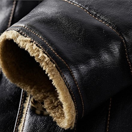 Men's Winter Warm Windproof PU Leather Jacket With Fur