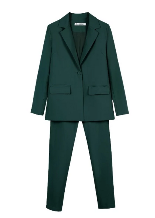 Women's Turn Down Collar Solid Two Piece Suit