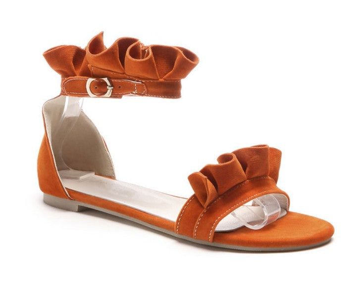 Women's Summer Gladiator Flat Sandals With Ruffles