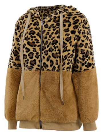 Women's Winter Thick Zipper Hooded Leopard Jacket
