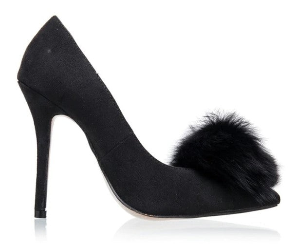 Women's Spring/Autumn High-Heeled Velvet Pumps With Fur Pom-Pom