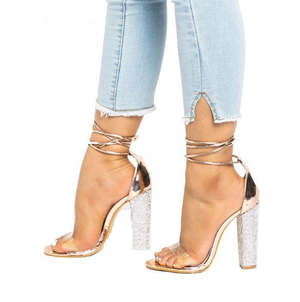Women's Summer High-Heeled Bandage Sandals With Square Rhinestone Heels