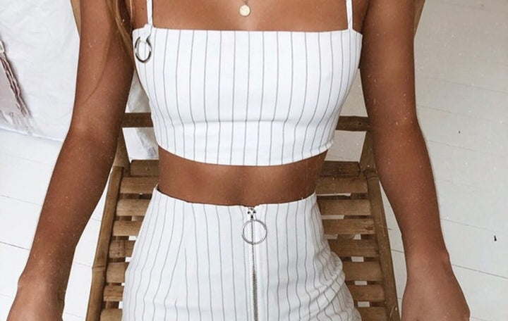 Women's Summer Casual Striped Slash-Neck Skinny Crop Top