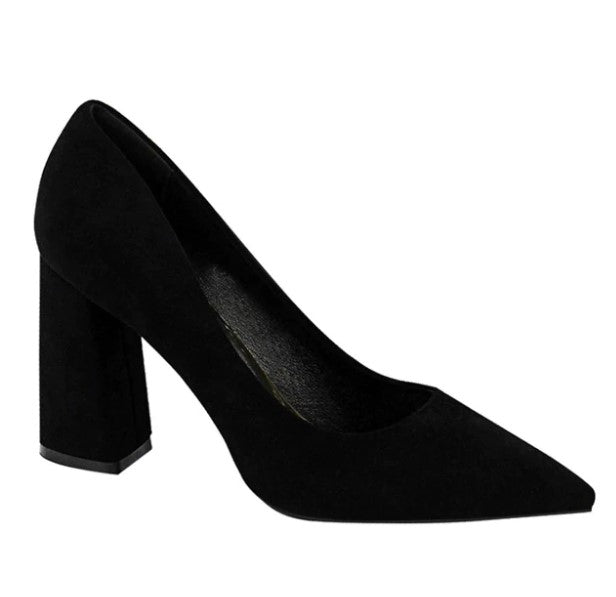 Women's Autumn Faux Suede Solid Square-Heeled Pumps