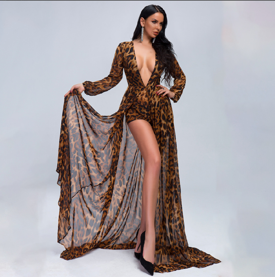 Women's Deep V-Neck Cloak Style Jumpsuit With Leopard Print