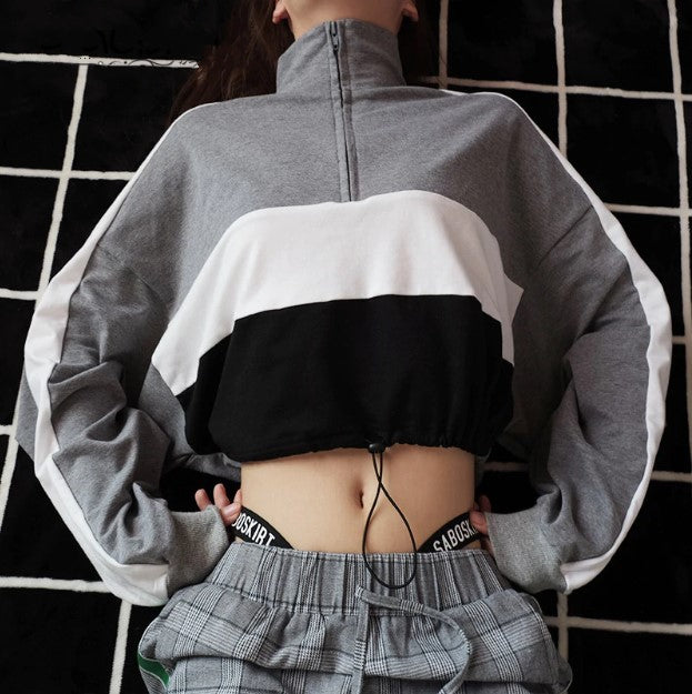 Women's Spring/Autumn Long-Sleeved Loose Cropped Sweatshirt