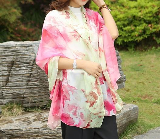 Summer Soft Silk Women's Long Shawl Scarf