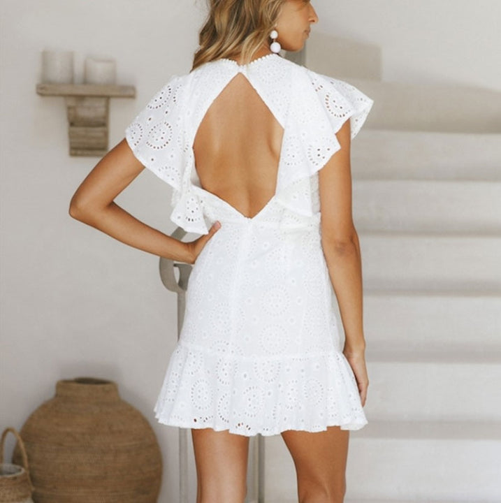 Women's Summer Cotton Embroidered A-Line Backless Dress With Ruffled Sleeves