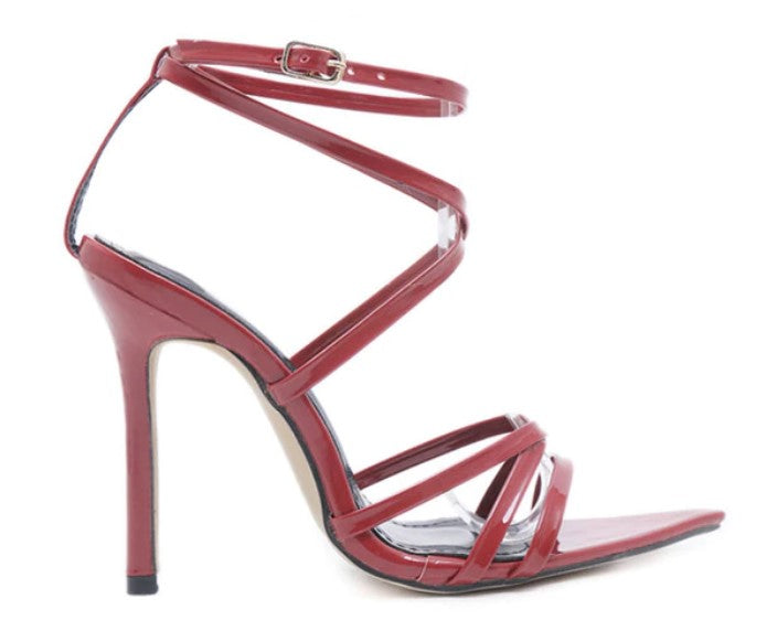 Women's Summer Patent Leather Thin-Heeled Sandals