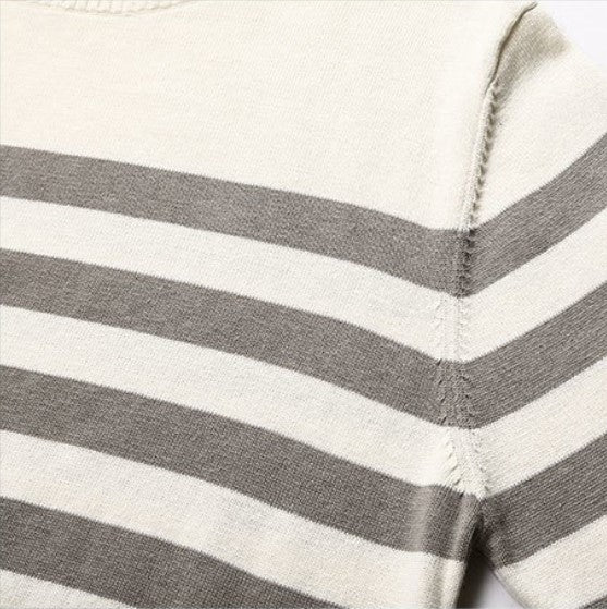Men's Spring/Autumn Knitted Striped Cotton O-Neck Pullover