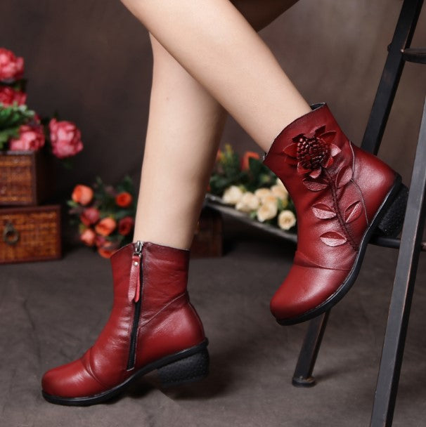 Women's Winter Vintage Genuine Leather Ankle Boots With Decorative Flower