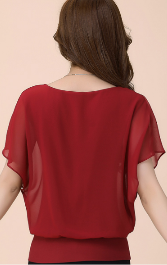 Blouse – Summer Women's Chiffon Blouse With Short Sleeves | Zorket