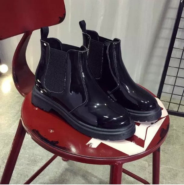 Women's Spring/Autumn Patent Leather Ankle Chelsea Boots
