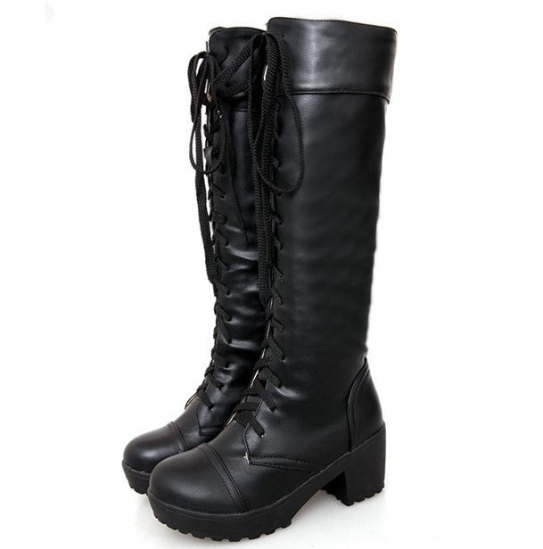 Spring / Autumn Lace Up High Boots For Women - Zorket