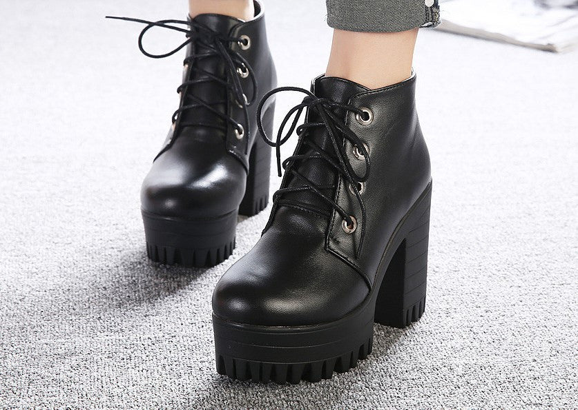 New Spring / Autumn Women's Black High Heels Boots - Zorket