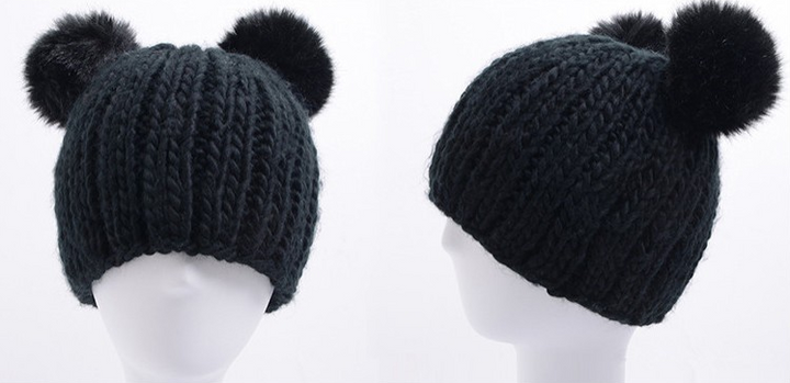 Female Casual Warm Winter Knitted Hat - Zorket
