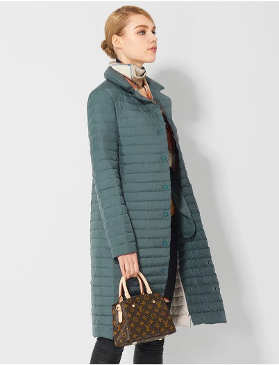 Women's Spring Windproof Cotton-Padded Quilted Long Coat
