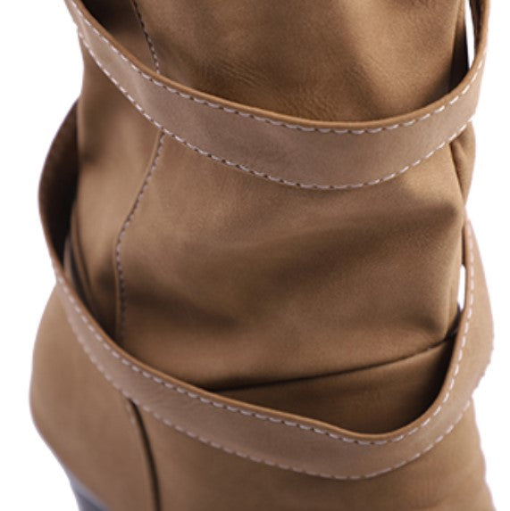 Women's Winter Warm Mid-Calf Boots With Decorative Buckles