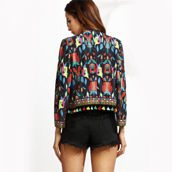 Women's Autumn Long Sleeve Jacket With Tribal Print