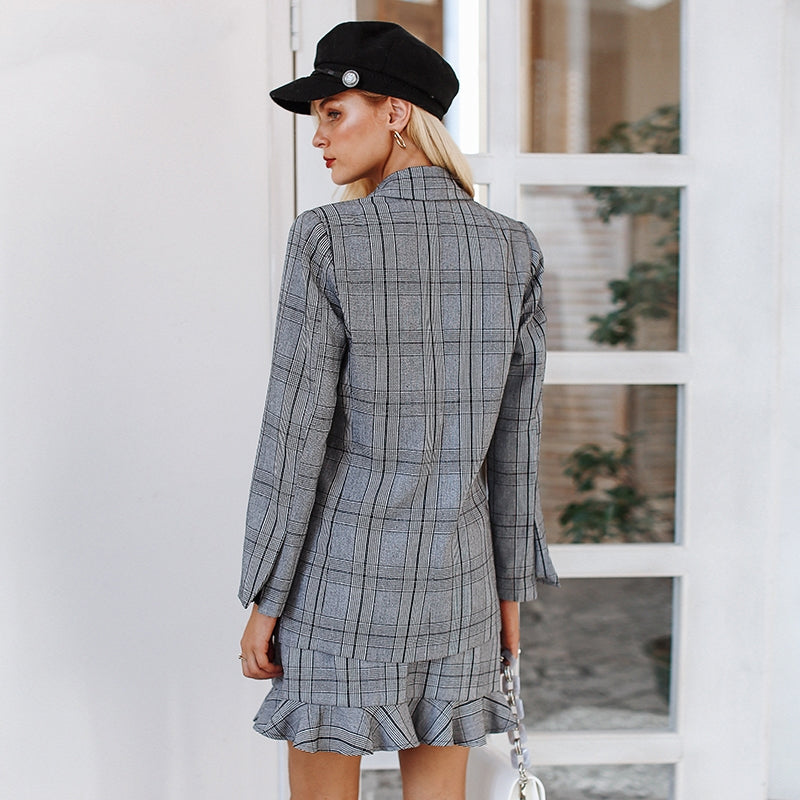 1d4713a16672 Women s Winter Plaid Double Breasted Blazer