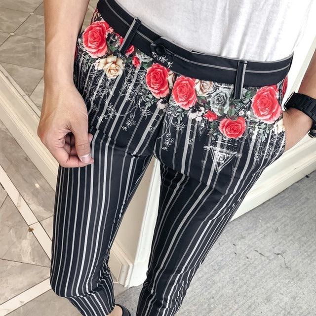 Men's Spring Slim Fit Pants With Print And Stripes
