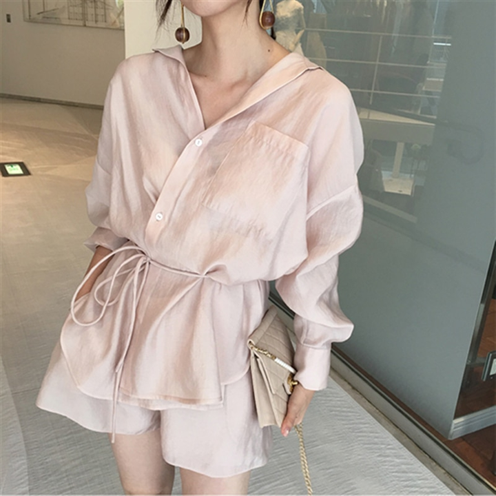 Women's Summer Casual Silk Solid Two Piece Suit