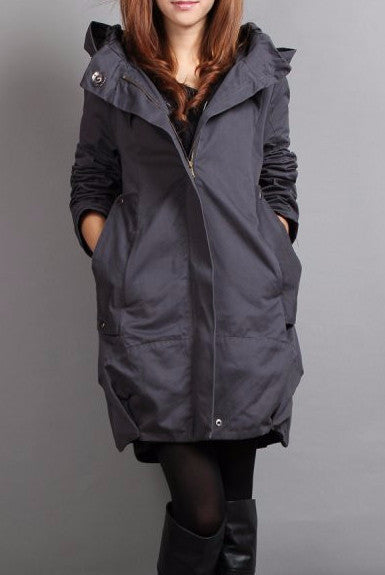 Women's Solid Color Hooded Autumn & Spring Jacket - Zorket