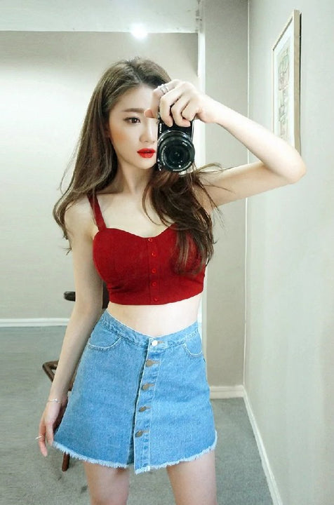 Women's Summer Sleeveless Slim Crop Top With Buttons