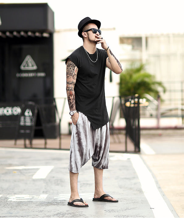 Men's Summer Casual Cotton Knee-Length Loose Shorts