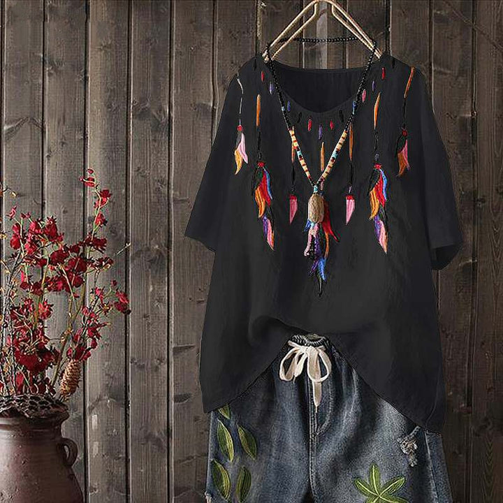 Women's Casual Embroidered V-Neck Blouse | Plus Size