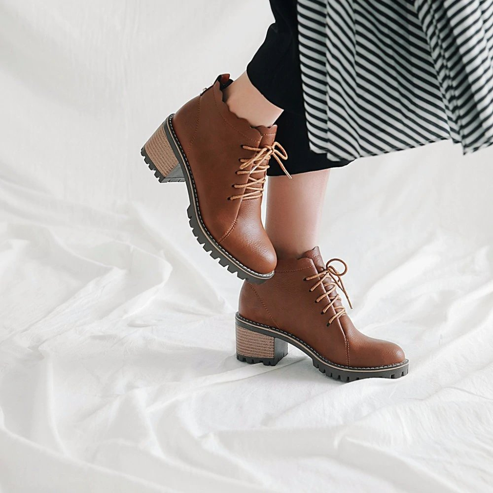 Women's Spring/Autumn Casual Soft PU Leather Ankle Boots